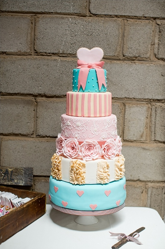 bright pink and blue wedding cake