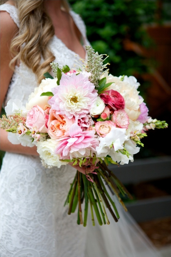 pink peach and white bouquet