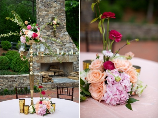 pink and peach floral centerpieces