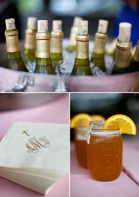 wedding drinks and personalized napkins