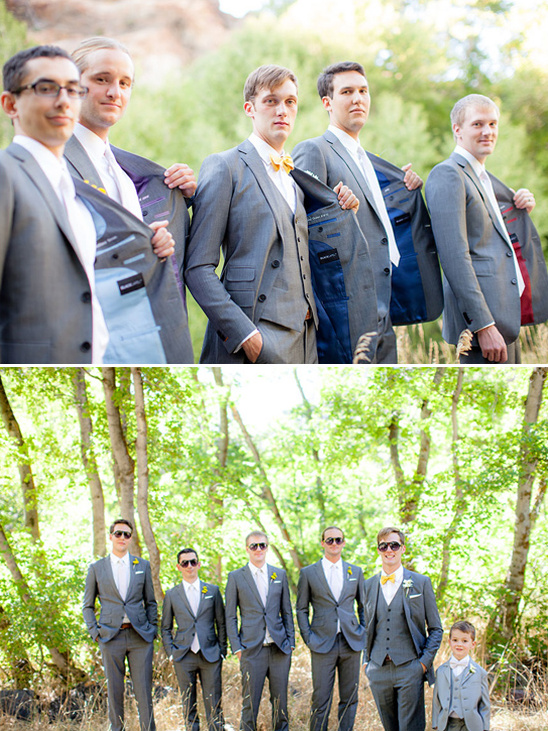 gray and yellow groomsmen