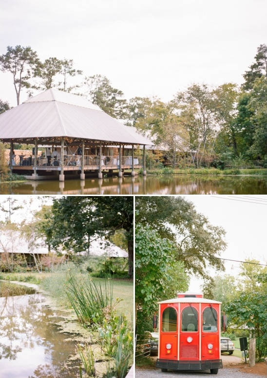 outdoor wedding with trolley transportation for guest