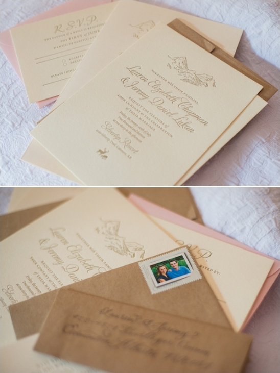 gold print mountain themed invites
