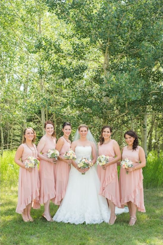 pink ruffled bridesmaids dresses