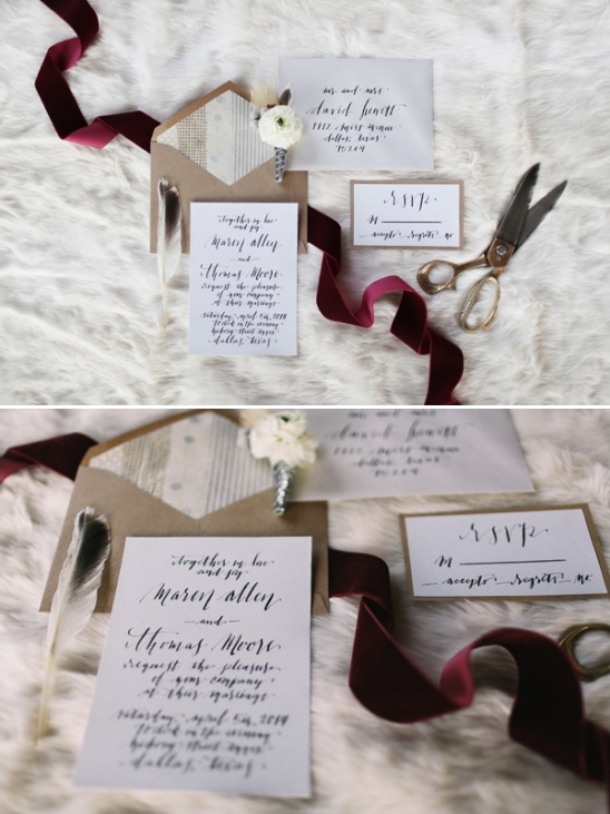 simple calligraphy wedding invite