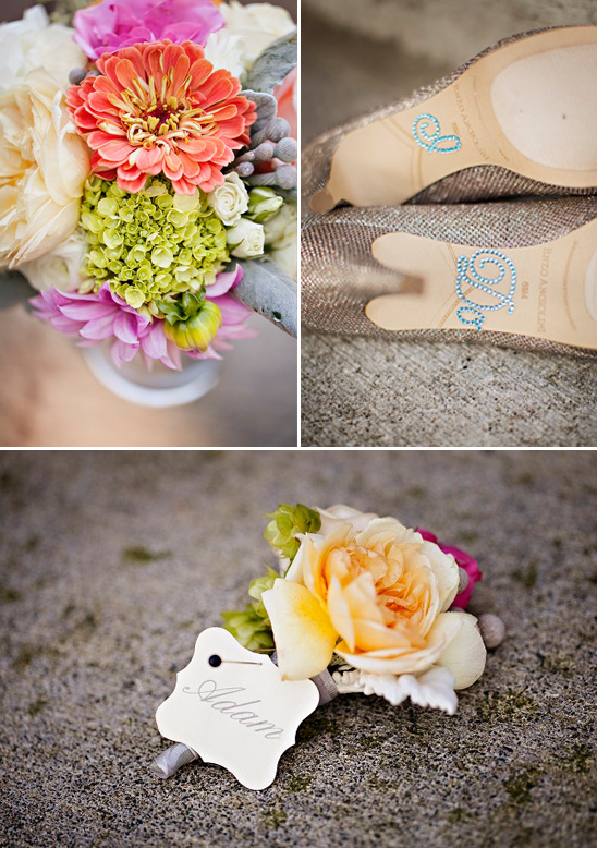 I do bedazzled wedding shoes and bright wedding flowers