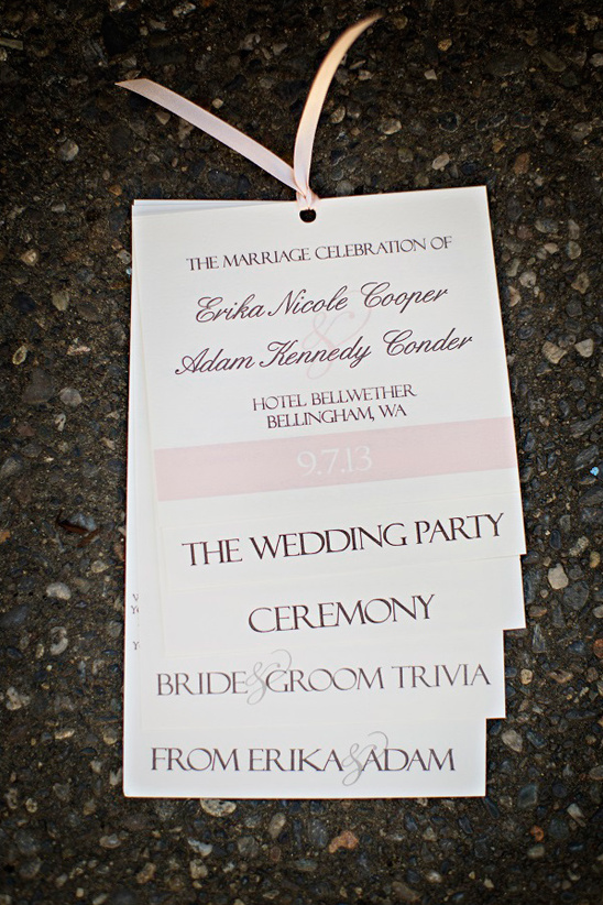 pink and white wedding program