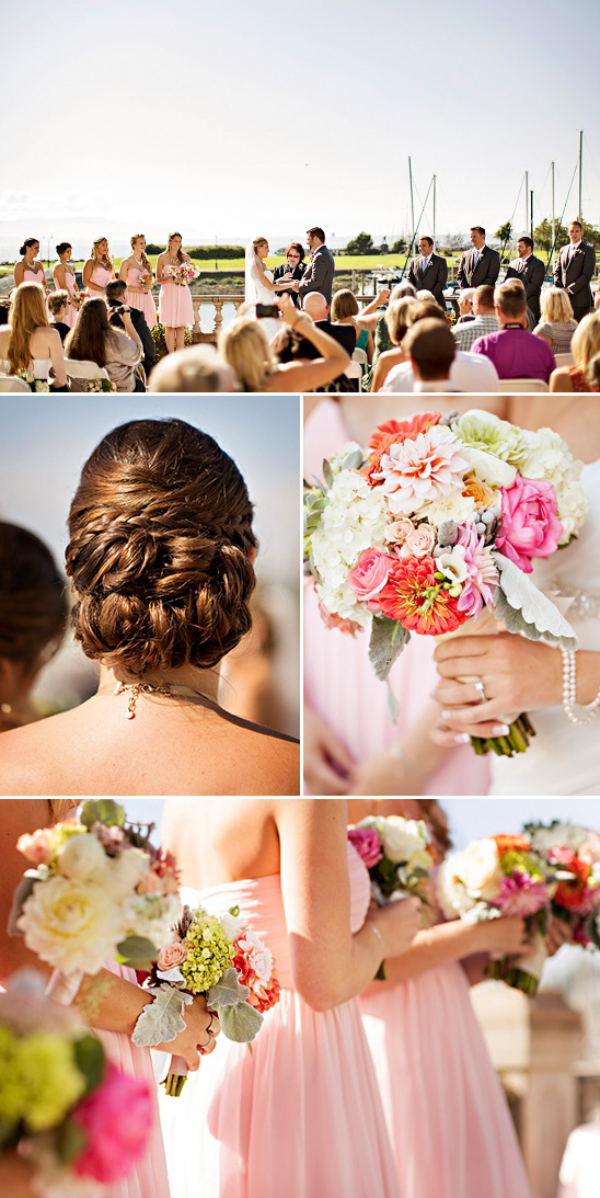 summer wedding updo and bouquets