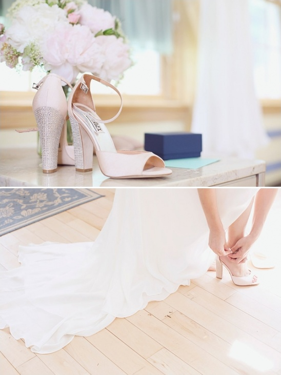blush pink and rhinestone wedding shoes