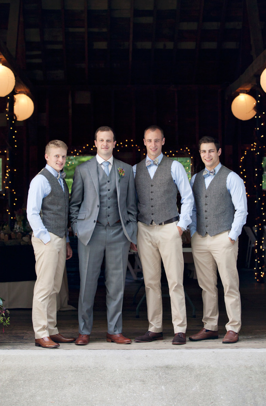 blue grey and tan groomsmen look