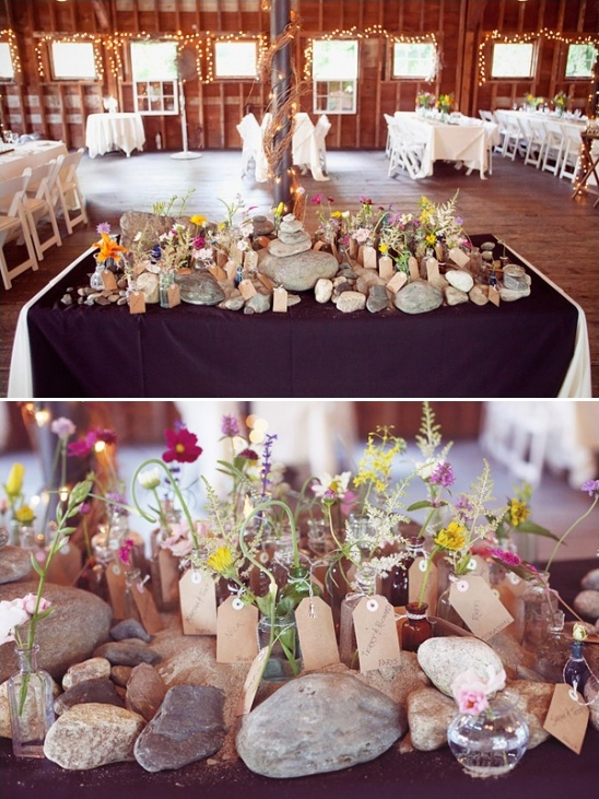 river rock escort card and wedding favor station