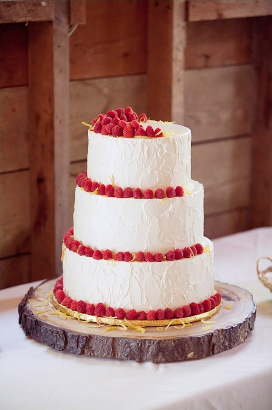 raspberry garnished wedding cake