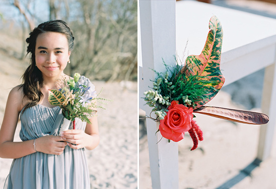 bridesmaid at beach wedding