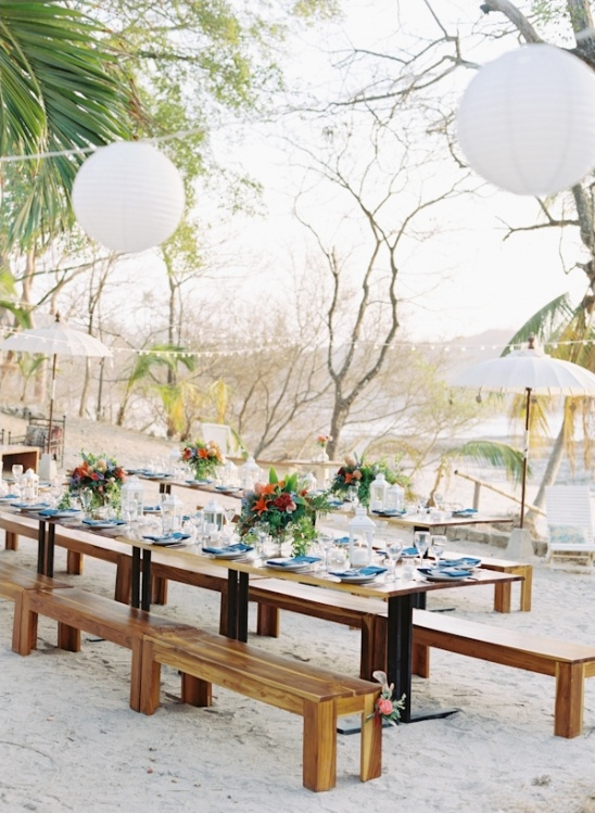 family style seating at beach reception