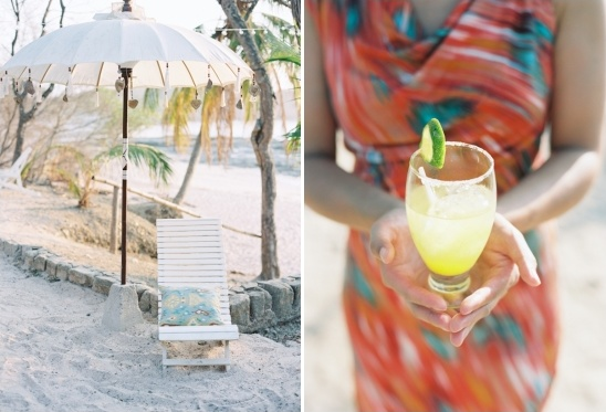 beach seating and tropical drink