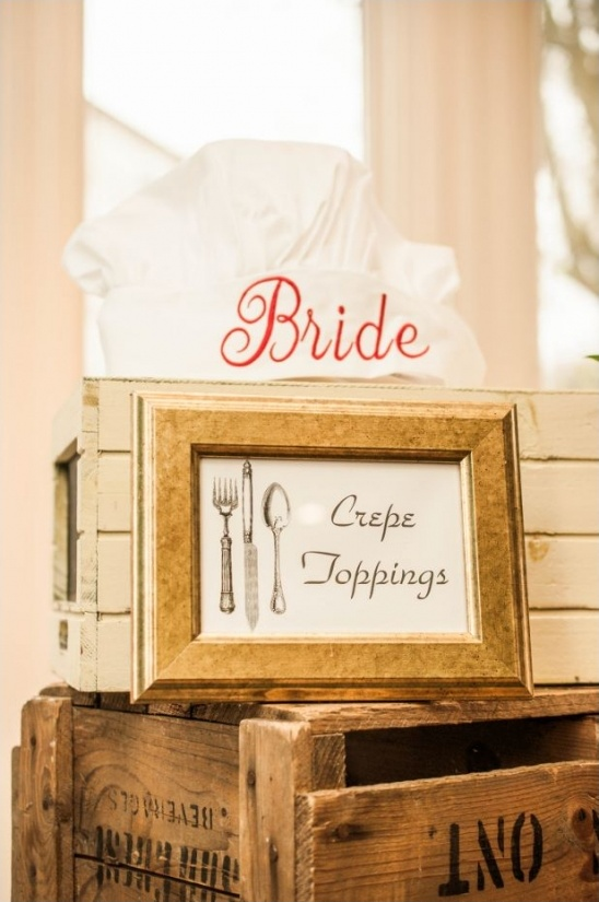 bride chef hat and crepe toppings sign