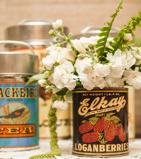 vintage can with florals