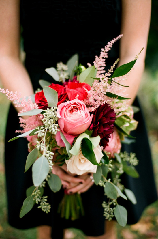 sweet pink and red bridesmaid bouquet