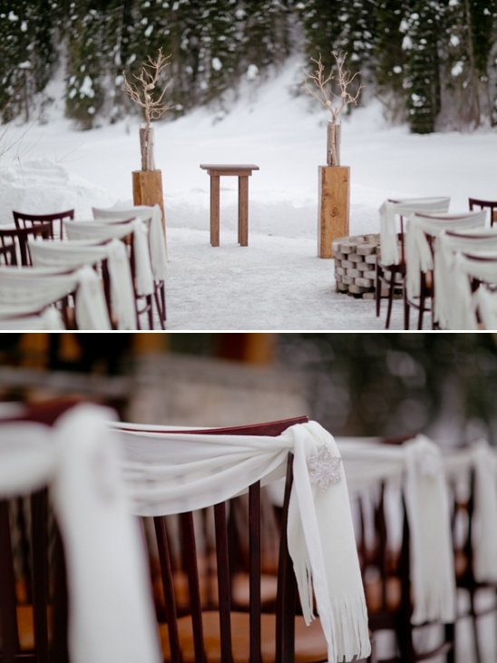 place scarves on chairs
