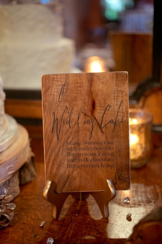 wooden wedding cake sign