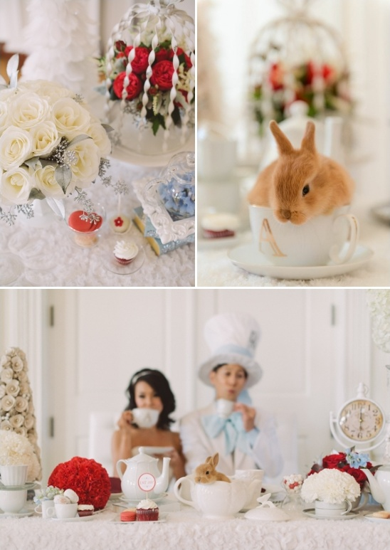 wintery wonderland tablescape and tea cup bunny