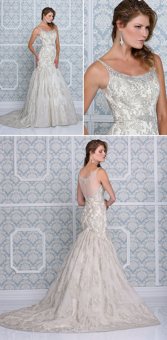 mermaid style wedding gown with straps and embellishments