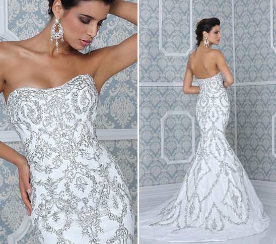 strapless wedding dress with detailed silver embroidery