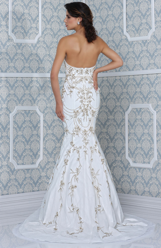 glamorous wedding gown with gold embroidery