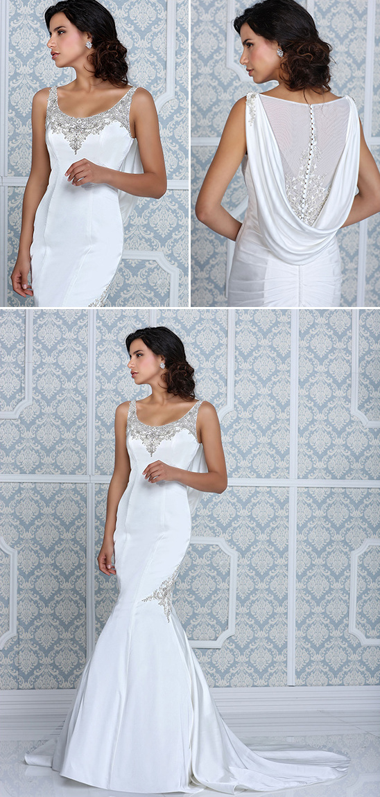 impression bridal draped backed wedding gown