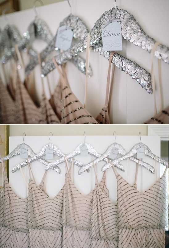 silver bridesmaid hangers