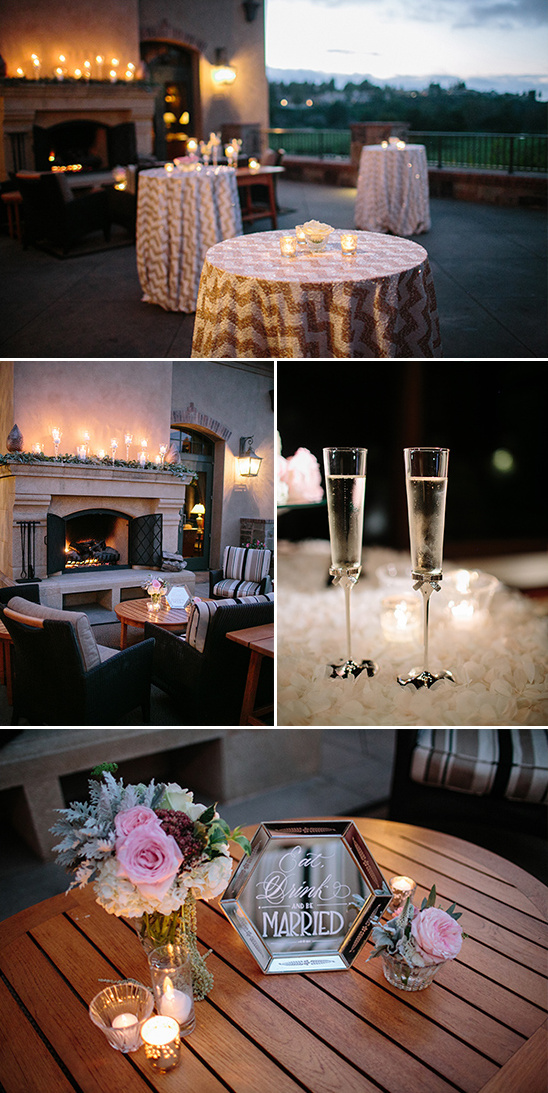 candle lit wedding patio