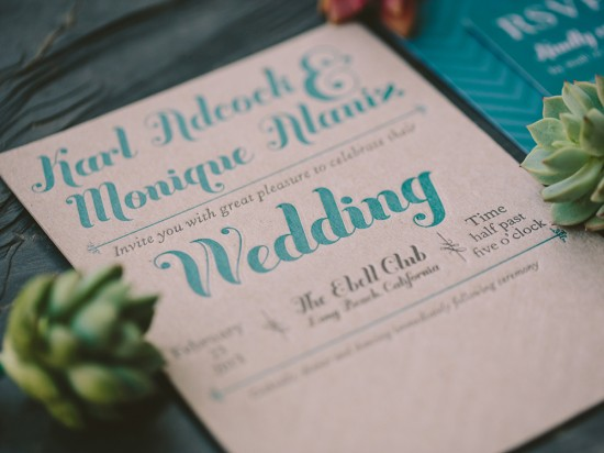 Monique & Karl Teal and Chipboard Letterpress Wedding Invitation Suite