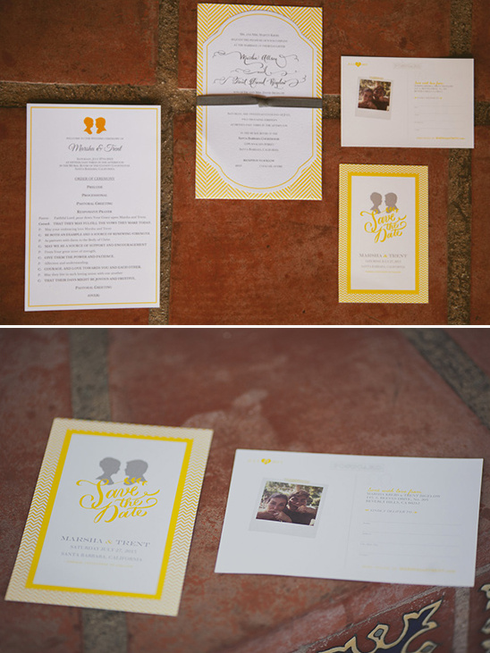 yellow silhouette wedding invite