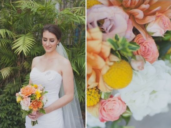 orange, yellow, pink wedding bouquet