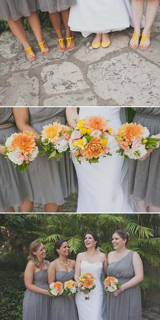 yellow and gray bridesmaids ideas