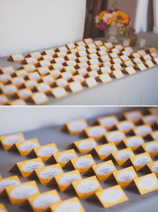 yellow escort card station