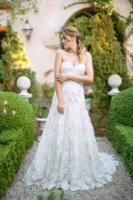 oversized lace wedding gown