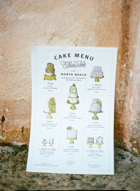 wedding cake menu poster