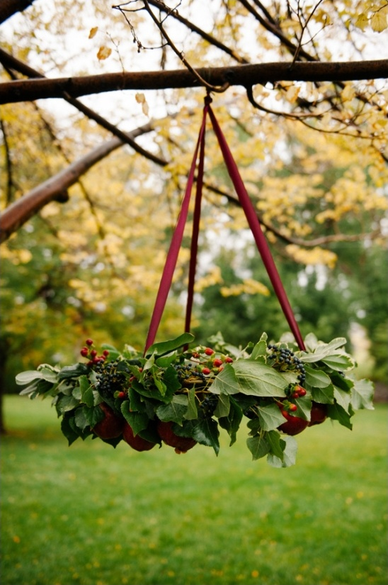 hanging apple and berry decor