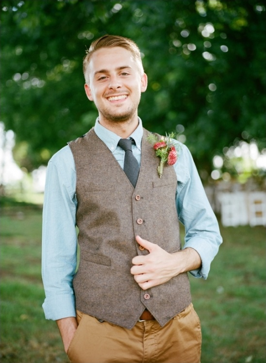 chambray shirt vest and tie for the groom
