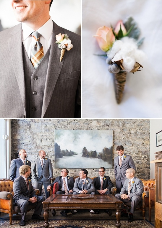 rose bud and cotton boutonniere