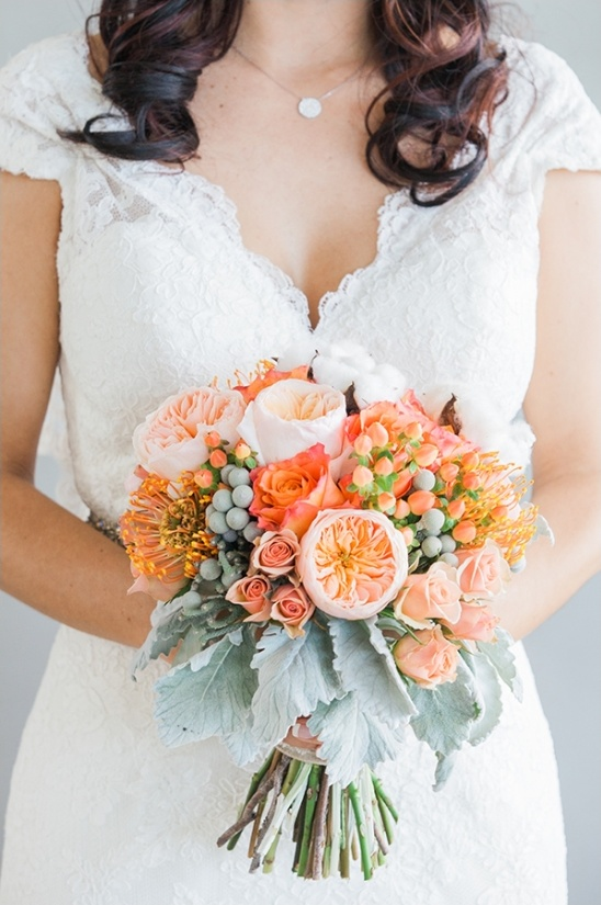 orange and peach bridal bouquet