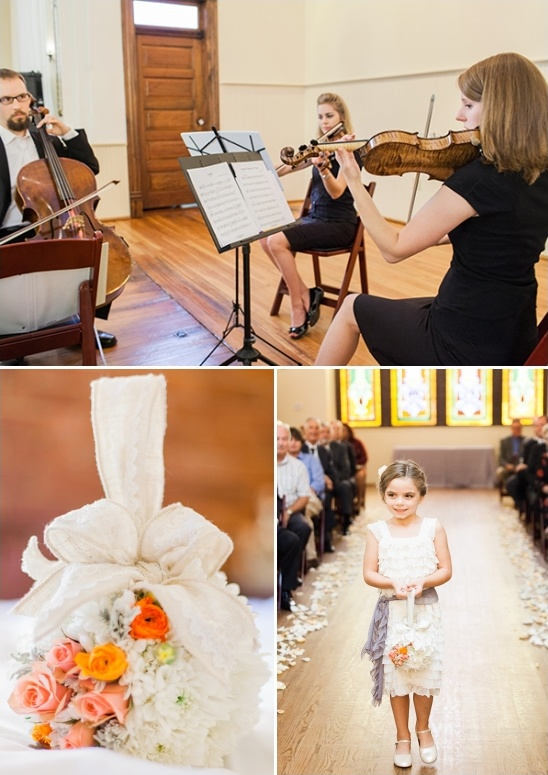 live ceremony music and hanging flower girl bouquet