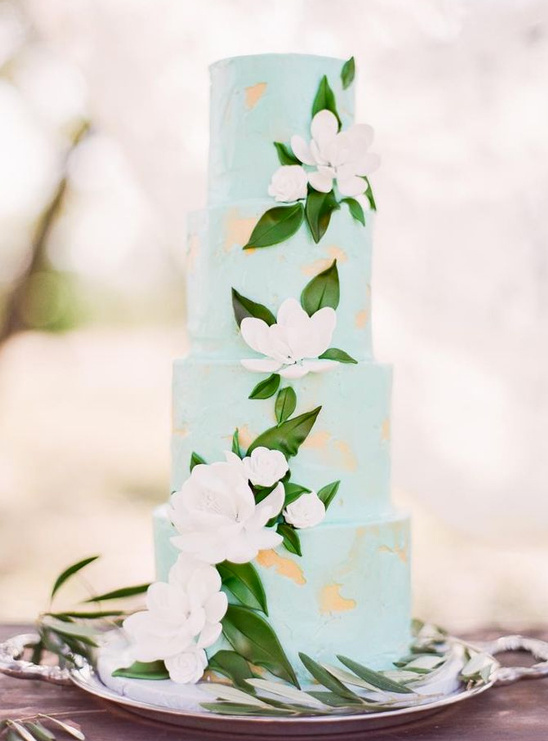 mint and green wedding cake
