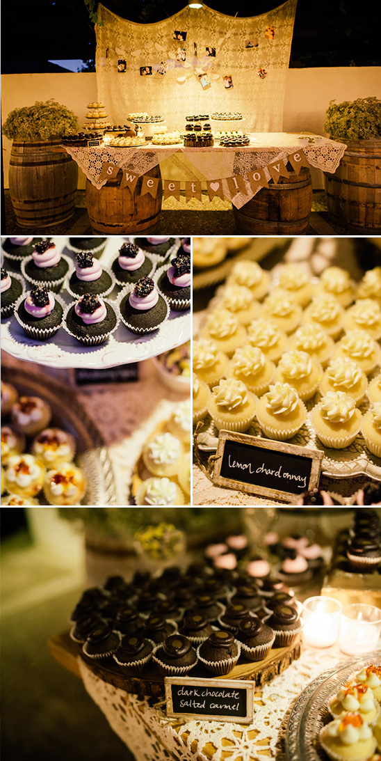 rustic dessert table with many mini cupcakes
