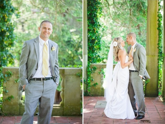 yellow and grey groom look