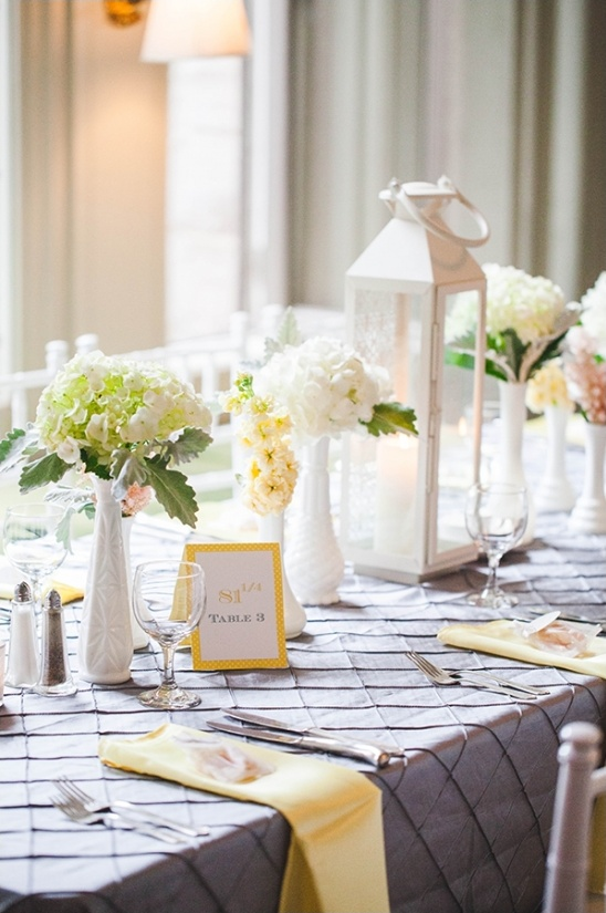 elegant yellow and grey table decor