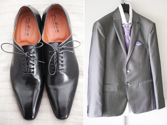 silver and purple groom look