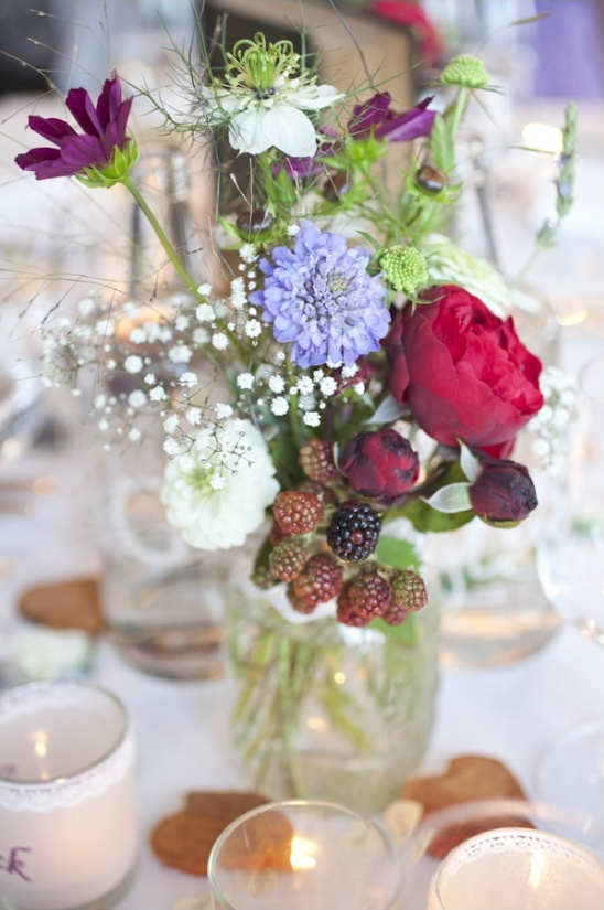 wildflower and raspberry centerpieces