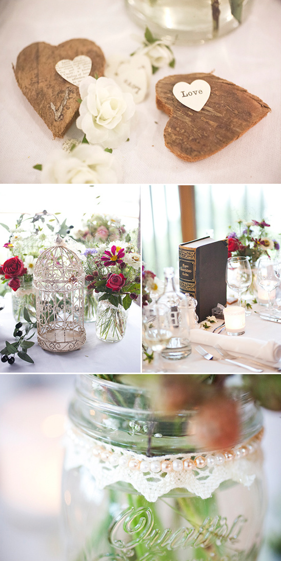 wooden heart table decor and lace accented mason jar vases